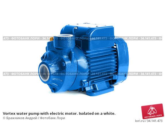Vortex water pump with electric motor. Isolated on a white. Стоковое фото, фотограф Бражников Андрей / Фотобанк Лори