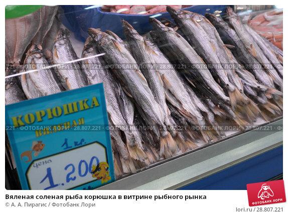 Купить «Вяленая соленая рыба корюшка в витрине рыбного рынка», фото № 28807221, снято 20 мая 2018 г. (c) А. А. Пирагис / Фотобанк Лори