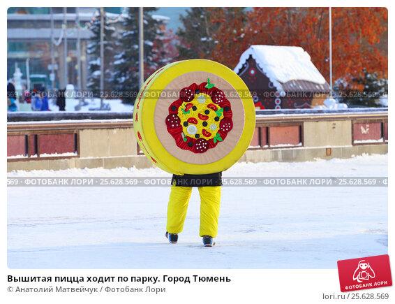 Купить «Вышитая пицца ходит по парку. Город Тюмень», эксклюзивное фото № 25628569, снято 19 января 2017 г. (c) Анатолий Матвейчук / Фотобанк Лори
