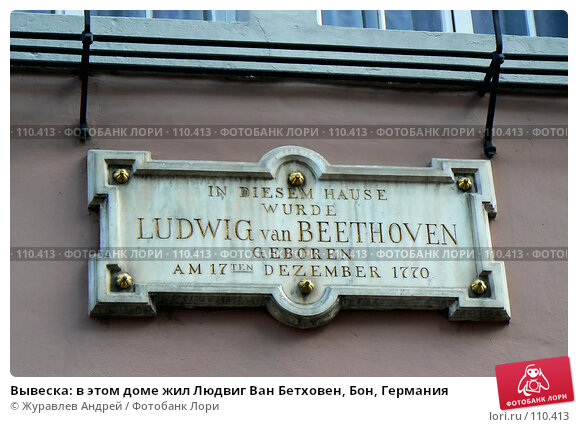 Вывеска: в этом доме жил Людвиг Ван Бетховен, Бон, Германия, эксклюзивное фото № 110413, снято 29 ноября 2006 г. (c) Журавлев Андрей / Фотобанк Лори