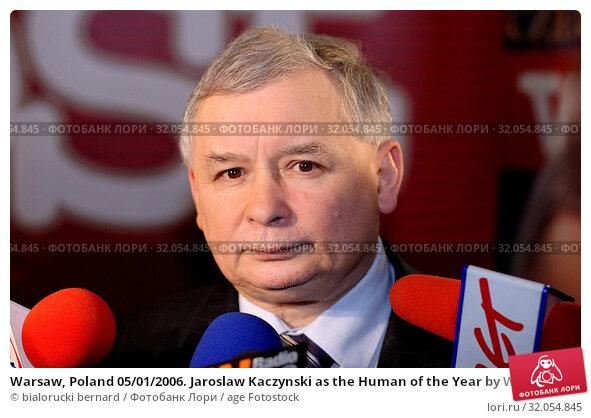 Warsaw, Poland 05/01/2006. Jaroslaw Kaczynski as the Human of the Year by Wprost magazine. Редакционное фото, фотограф bialorucki bernard / age Fotostock / Фотобанк Лори