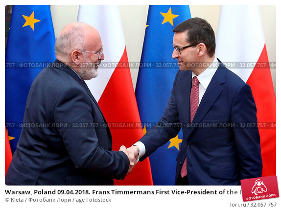 Warsaw, Poland 09.04.2018. Frans Timmermans First Vice-President of the European Commission visiting Poland. Pictured: PM Mateusz Morawiecki and Frans Timmermans. Редакционное фото, фотограф Kleta / age Fotostock / Фотобанк Лори