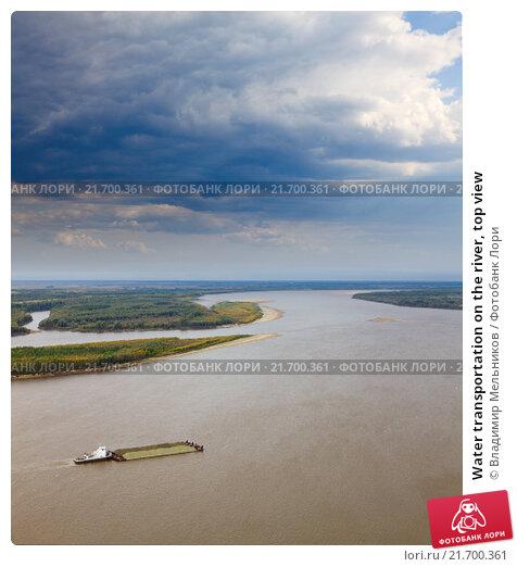 Купить «Water transportation on the river, top view», фото № 21700361, снято 6 сентября 2014 г. (c) Владимир Мельников / Фотобанк Лори