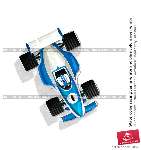 Watercolor racing car in white and blue colors over white. Стоковое фото, фотограф Zoonar.com/Richard Laschon / easy Fotostock / Фотобанк Лори