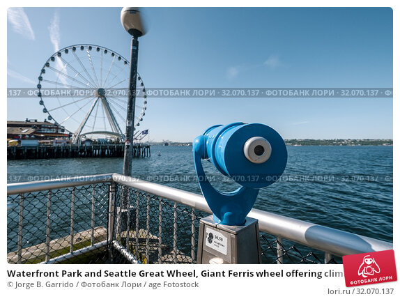 Waterfront Park and Seattle Great Wheel, Giant Ferris wheel offering climate-controlled gondolas & a bird's-eye view of the city's landmarks. Стоковое фото, фотограф Jorge B. Garrido / age Fotostock / Фотобанк Лори