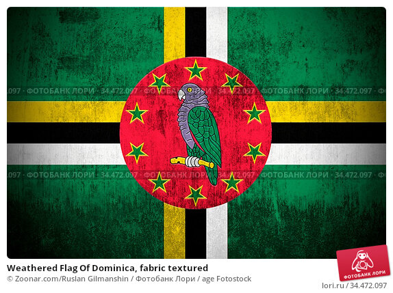 Weathered Flag Of Dominica, fabric textured. Стоковое фото, фотограф Zoonar.com/Ruslan Gilmanshin / age Fotostock / Фотобанк Лори
