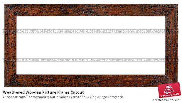 Weathered Wooden Picture Frame Cutout. Стоковое фото, фотограф Zoonar.com/Photographer: Dario Sabljak / age Fotostock / Фотобанк Лори