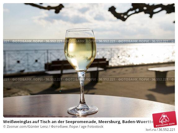 Weißweinglas auf Tisch an der Seepromenade, Meersburg, Baden-Wuerttemberg... Стоковое фото, фотограф Zoonar.com/Günter Lenz / age Fotostock / Фотобанк Лори