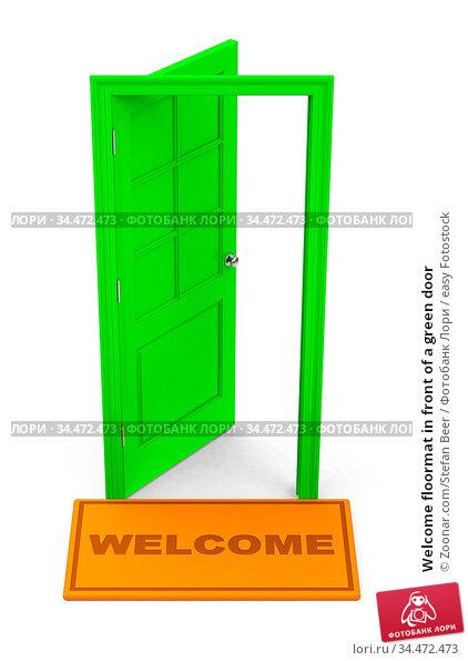 Welcome floormat in front of a green door. Стоковое фото, фотограф Zoonar.com/Stefan Beer / easy Fotostock / Фотобанк Лори