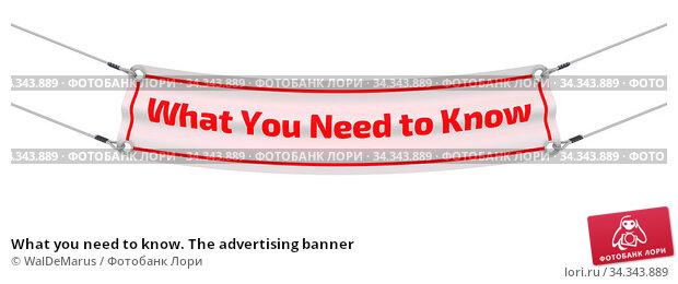 Купить «What you need to know. The advertising banner», иллюстрация № 34343889 (c) WalDeMarus / Фотобанк Лори