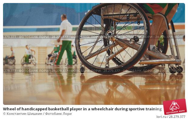 Купить «Wheel of handicapped basketball player in a wheelchair during sportive training», фото № 28279377, снято 16 декабря 2018 г. (c) Константин Шишкин / Фотобанк Лори