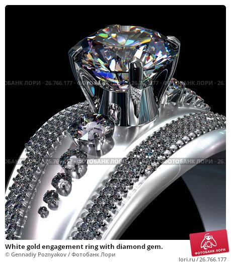 Купить «White gold engagement ring with diamond gem.», иллюстрация № 26766177 (c) Gennadiy Poznyakov / Фотобанк Лори