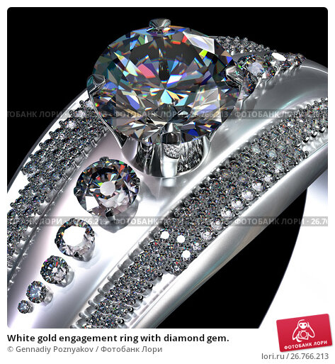 White gold engagement ring with diamond gem., иллюстрация № 26766213 (c) Gennadiy Poznyakov / Фотобанк Лори