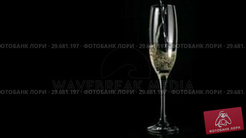 Купить «White wine poured in super slow motion in a flute glass», видеоролик № 29681197, снято 24 февраля 2012 г. (c) Wavebreak Media / Фотобанк Лори