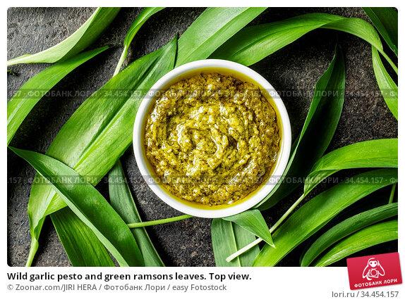 Wild garlic pesto and green ramsons leaves. Top view. Стоковое фото, фотограф Zoonar.com/JIRI HERA / easy Fotostock / Фотобанк Лори