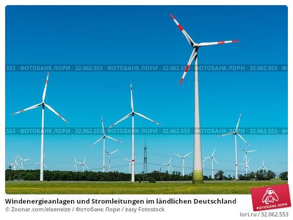 Windenergieanlagen und Stromleitungen im ländlichen Deutschland. Стоковое фото, фотограф Zoonar.com/elxeneize / easy Fotostock / Фотобанк Лори
