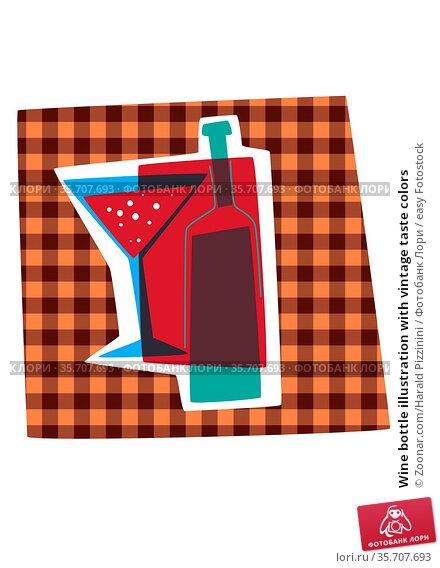 Wine bottle illustration with vintage taste colors. Стоковое фото, фотограф Zoonar.com/Harald Pizzinini / easy Fotostock / Фотобанк Лори
