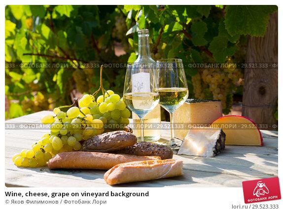 Купить «Wine, cheese, grape on vineyard background», фото № 29523333, снято 24 апреля 2019 г. (c) Яков Филимонов / Фотобанк Лори