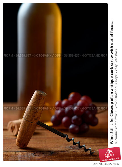 Wine Still Life: Closeup of an antique cork screw with out of focus... Стоковое фото, фотограф Zoonar.com/Steve Cukrov / easy Fotostock / Фотобанк Лори