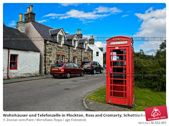 Wohnhäuser und Telefonzelle in Plockton, Ross and Cromarty, Schottisches... Стоковое фото, фотограф Zoonar.com/Pant / age Fotostock / Фотобанк Лори
