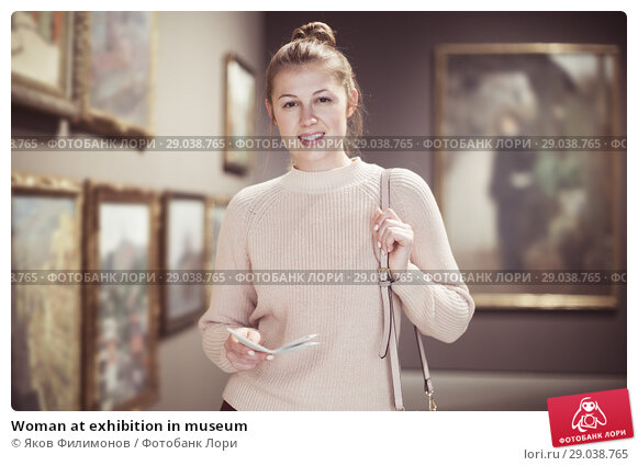 Купить «Woman at exhibition in museum», фото № 29038765, снято 18 ноября 2017 г. (c) Яков Филимонов / Фотобанк Лори