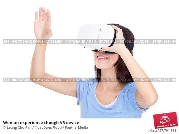 Купить «Woman experience though VR device», фото № 27791561, снято 15 октября 2018 г. (c) PantherMedia / Фотобанк Лори