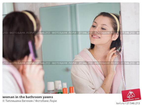 Купить «woman in the bathroom yawns», фото № 27546213, снято 12 декабря 2017 г. (c) Типляшина Евгения / Фотобанк Лори