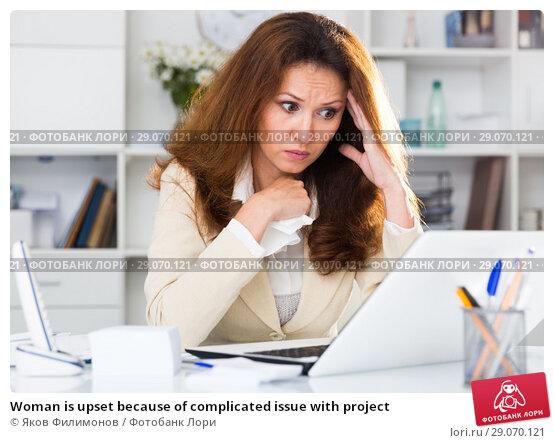 Купить «Woman is upset because of complicated issue with project», фото № 29070121, снято 30 мая 2018 г. (c) Яков Филимонов / Фотобанк Лори