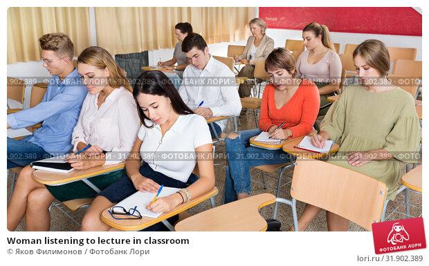Купить «Woman listening to lecture in classroom», фото № 31902389, снято 26 сентября 2018 г. (c) Яков Филимонов / Фотобанк Лори
