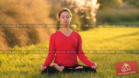 Купить «Woman meditates on nature», видеоролик № 27103045, снято 12 октября 2017 г. (c) Илья Шаматура / Фотобанк Лори
