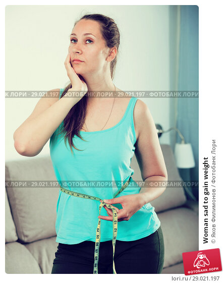 Купить «Woman sad to gain weight», фото № 29021197, снято 21 марта 2017 г. (c) Яков Филимонов / Фотобанк Лори