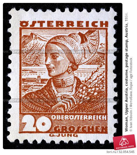 Woman, Upper Austria, costume, postage stamp, Austria, 1934. (2013 год). Редакционное фото, фотограф Ivan Vdovin / age Fotostock / Фотобанк Лори