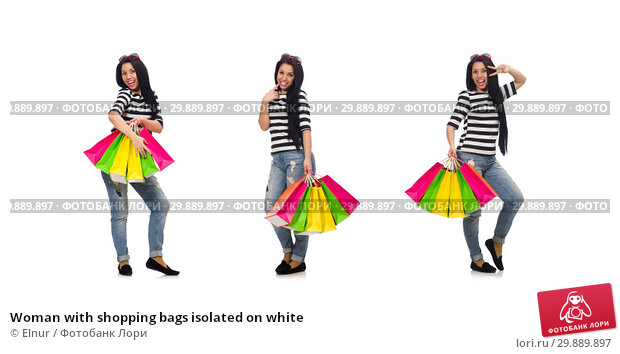 Купить «Woman with shopping bags isolated on white», фото № 29889897, снято 2 мая 2015 г. (c) Elnur / Фотобанк Лори