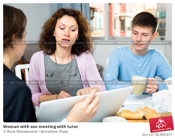 Woman with son meeting with tutor. Стоковое фото, фотограф Яков Филимонов / Фотобанк Лори