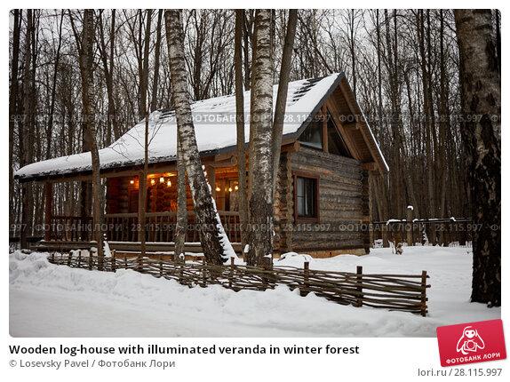Купить «Wooden log-house with illuminated veranda in winter forest», фото № 28115997, снято 4 февраля 2017 г. (c) Losevsky Pavel / Фотобанк Лори