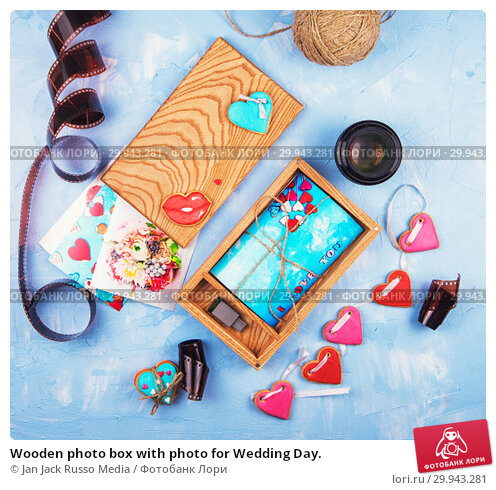 Купить «Wooden photo box with photo for Wedding Day.», фото № 29943281, снято 6 февраля 2019 г. (c) Jan Jack Russo Media / Фотобанк Лори