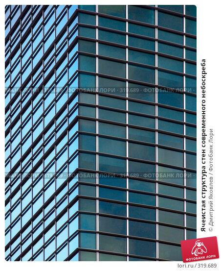 Ячеистая структура стен современного небоскреба, фото № 319689, снято 11 августа 2006 г. (c) Дмитрий Яковлев / Фотобанк Лори