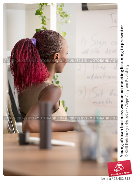 Купить «Young african business woman on meeting listening to presenter», фото № 28482813, снято 1 декабря 2014 г. (c) Ingram Publishing / Фотобанк Лори