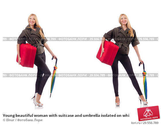 Купить «Young beautiful woman with suitcase and umbrella isolated on whi», фото № 29556789, снято 20 марта 2019 г. (c) Elnur / Фотобанк Лори