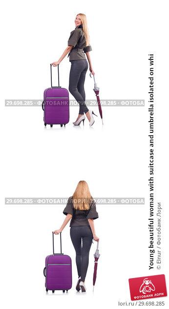 Купить «Young beautiful woman with suitcase and umbrella isolated on whi», фото № 29698285, снято 20 февраля 2019 г. (c) Elnur / Фотобанк Лори