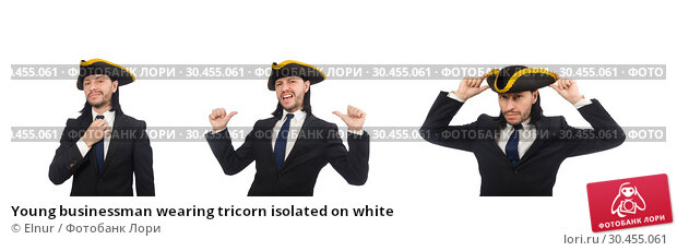 Young businessman wearing tricorn isolated on white. Стоковое фото, фотограф Elnur / Фотобанк Лори