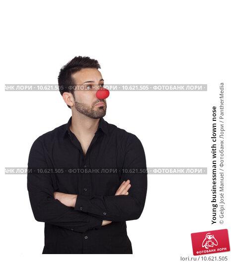 Young businessman with clown nose. Стоковое фото, фотограф Gelpi José Manuel / PantherMedia / Фотобанк Лори
