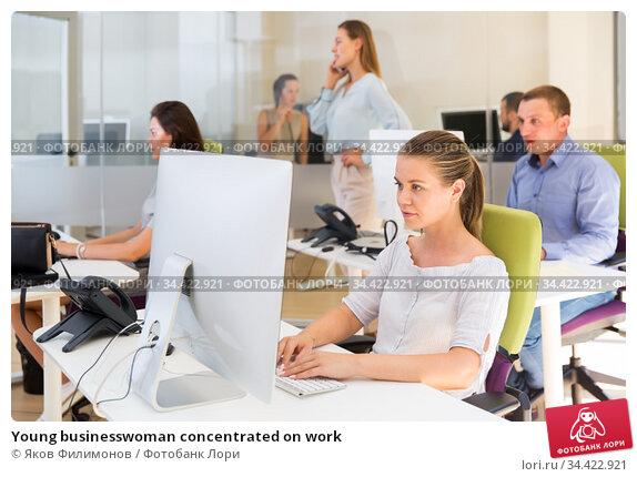 Young businesswoman concentrated on work. Стоковое фото, фотограф Яков Филимонов / Фотобанк Лори