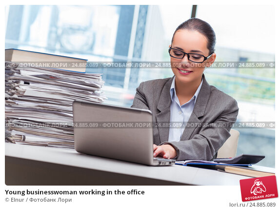 Купить «Young businesswoman working in the office», фото № 24885089, снято 26 сентября 2016 г. (c) Elnur / Фотобанк Лори