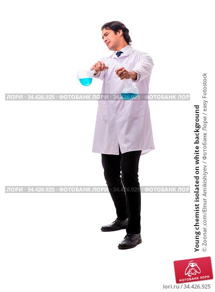 Young chemist isolated on white background. Стоковое фото, фотограф Zoonar.com/Elnur Amikishiyev / easy Fotostock / Фотобанк Лори