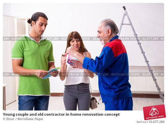 Купить «Young couple and old contractor in home renovation concept», фото № 33677289, снято 2 сентября 2019 г. (c) Elnur / Фотобанк Лори
