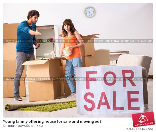 Купить «Young family offering house for sale and moving out», фото № 33677581, снято 21 сентября 2018 г. (c) Elnur / Фотобанк Лори