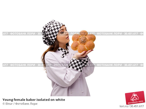 Young female baker isolated on white. Стоковое фото, фотограф Elnur / Фотобанк Лори