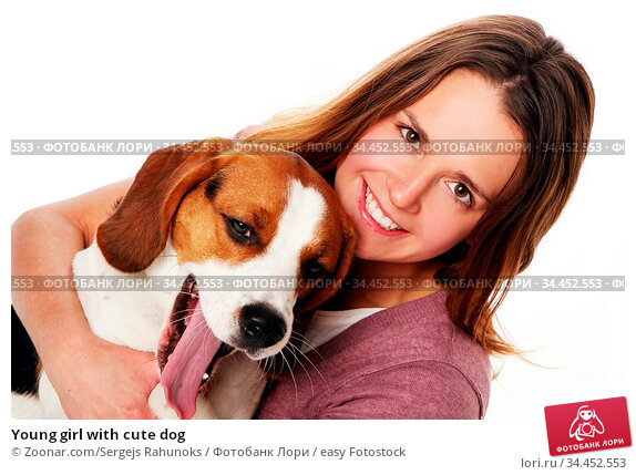 Young girl with cute dog. Стоковое фото, фотограф Zoonar.com/Sergejs Rahunoks / easy Fotostock / Фотобанк Лори
