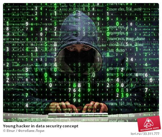 Купить «Young hacker in data security concept», фото № 33311777, снято 4 июля 2020 г. (c) Elnur / Фотобанк Лори